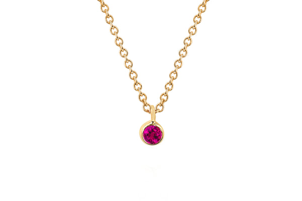 Single Ruby Bezel Chain Necklace