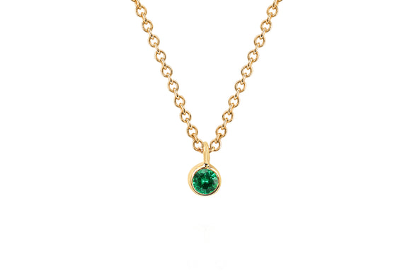 Single Tsavorite Bezel Chain Necklace