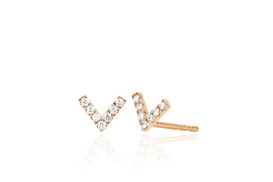 Mini Diamond Chevron Stud Earring
