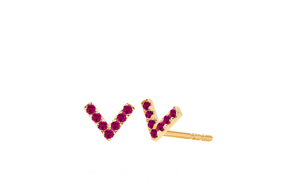 Mini Ruby Chevron Stud Earring