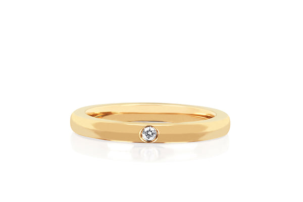 Jumbo Single Diamond Gold Stack Ring