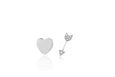Gold Mini Heart & Diamond Mini Arrow Stud Earring