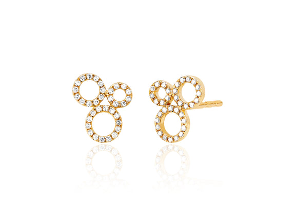 Diamond Open Circle Cluster Stud Earring