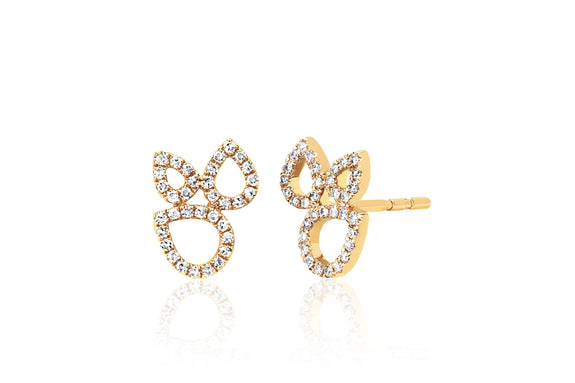 Diamond Open Teardrop Cluster Stud Earring