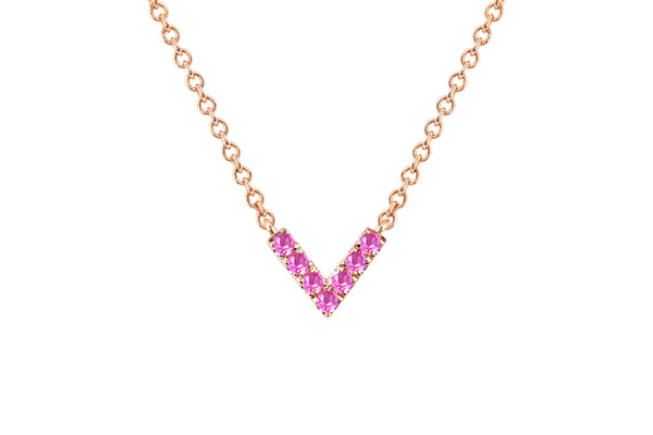 Pink Sapphire Chevron Necklace