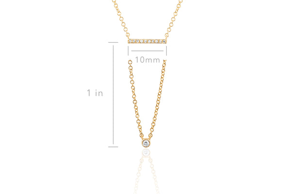 Diamond Mini Bar Bezel Drop Necklace
