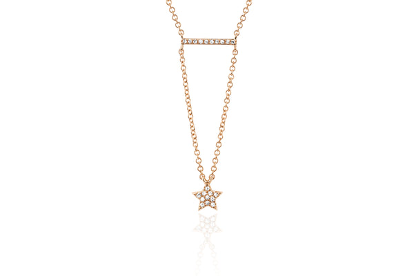 Diamond Mini Bar Star Drop Necklace