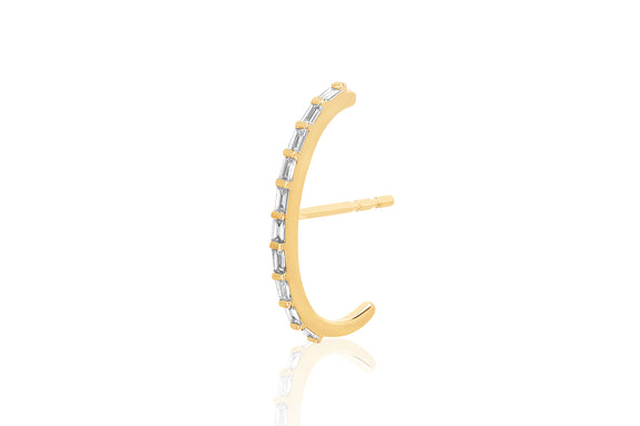 Diamond Baguette Ultra Huggie Earring