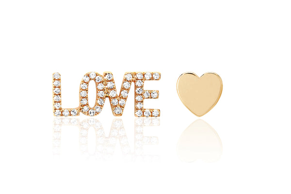 Diamond Love Stud & Gold Heart Stud Earring