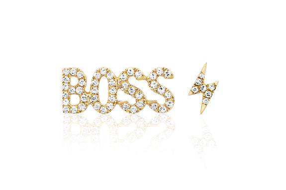 Diamond Boss Stud & Diamond Mini Lightning Bolt Stud Earring