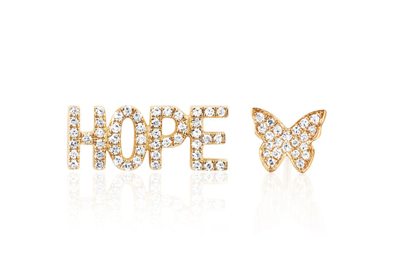 Diamond Hope Stud & Diamond Butterfly Stud Earring