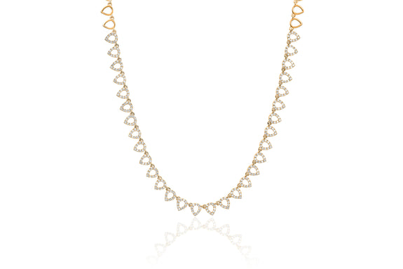 Half Diamond Open Teardrop Eternity Necklace