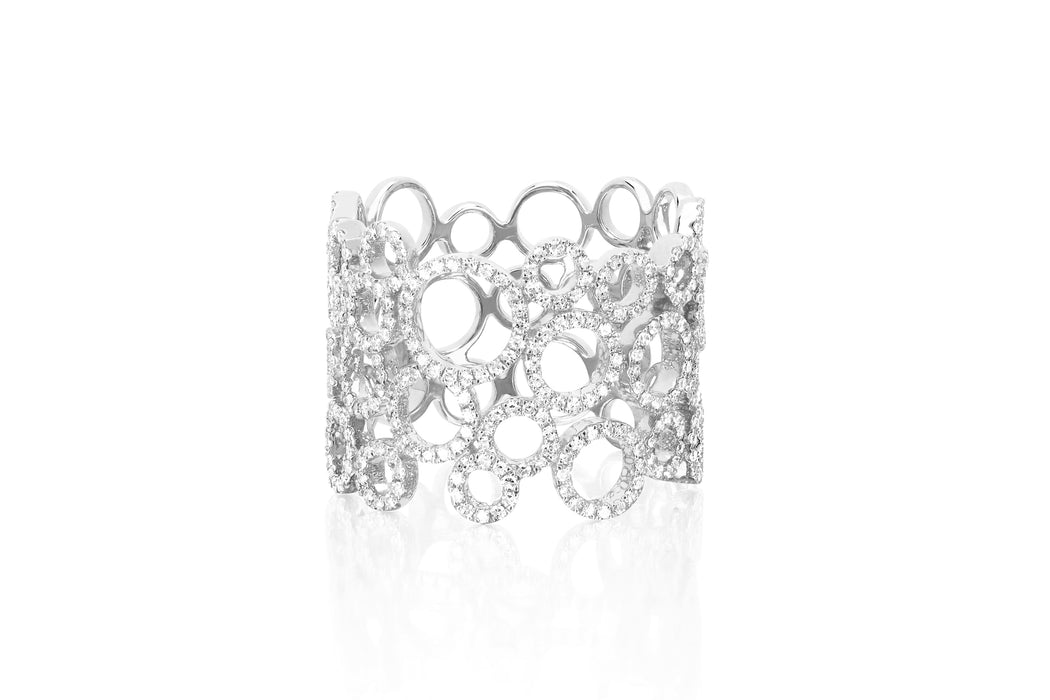 Diamond Open Circle Cluster Ring