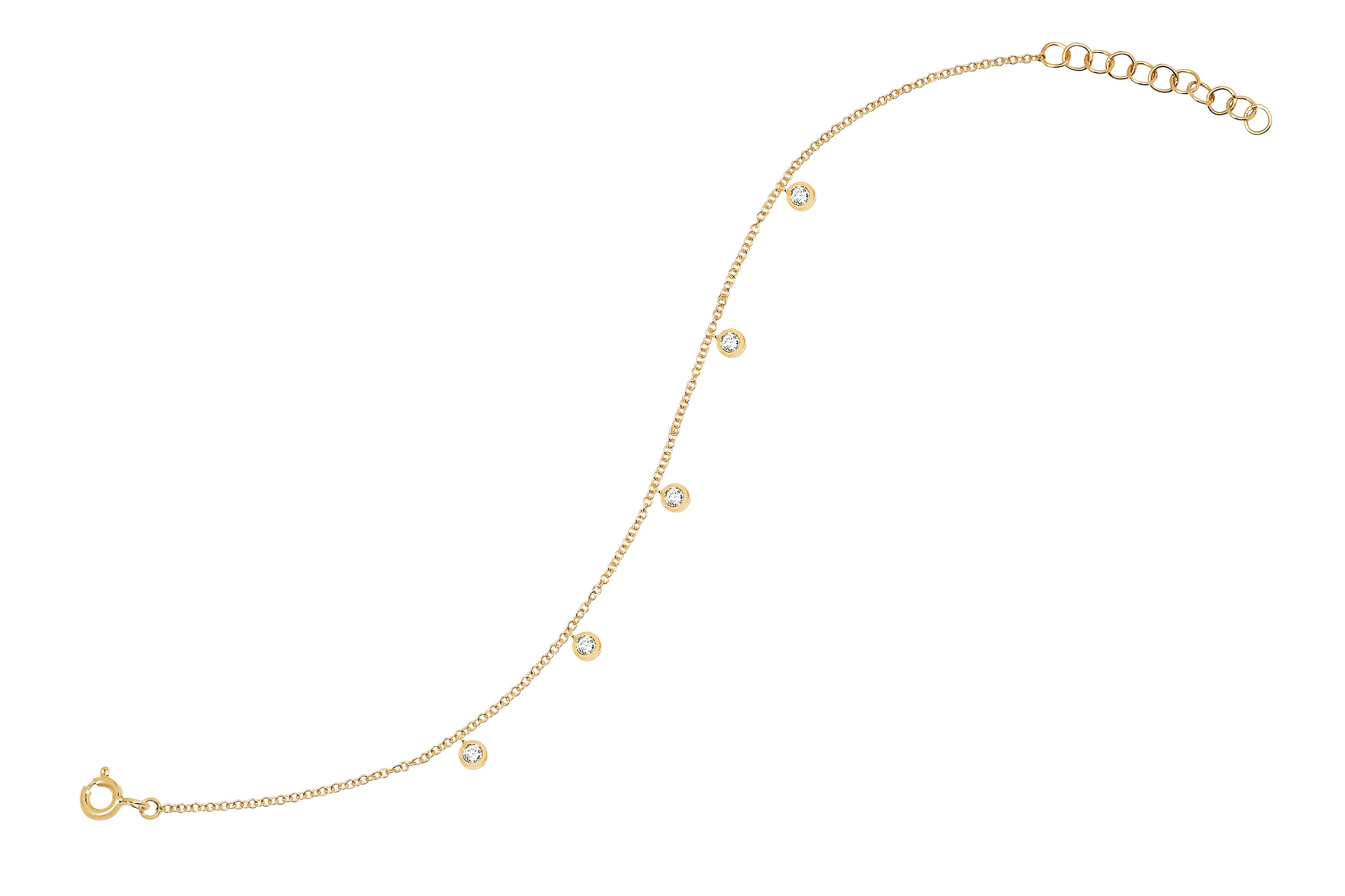 Diamond 5 Bezel Chain Anklet