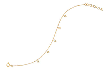 Diamond 5 Mini Teardrop Chain Bracelet