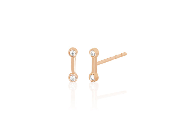 Diamond Bezel Gold Bar Stud Earring