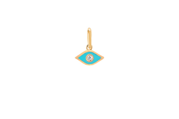 Diamond & Turquoise Enamel Evil Eye Necklace Charm