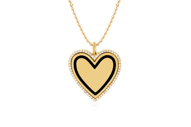 Diamond & Black Enamel Heart Necklace