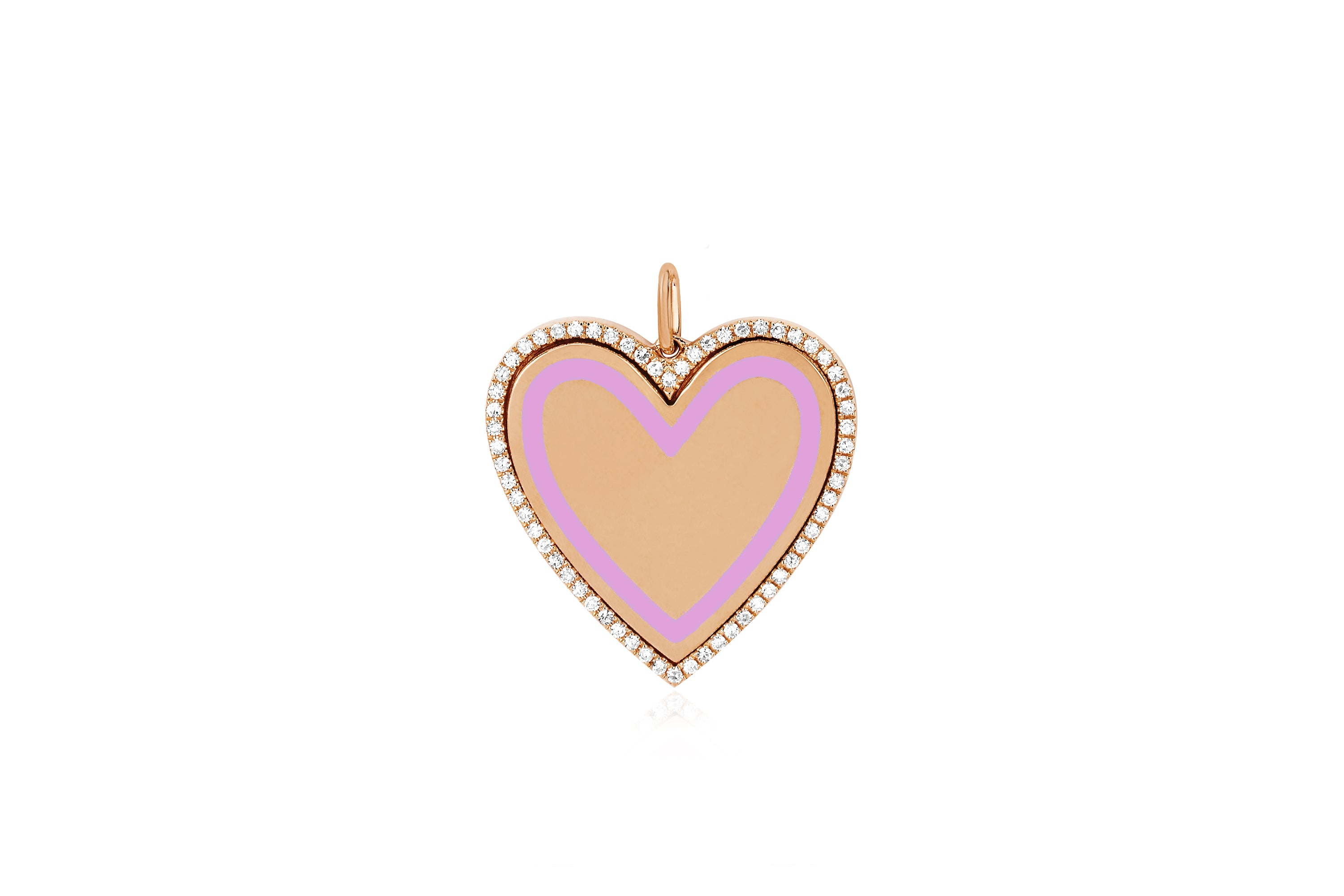 Diamond & Enamel Heart Necklace Charm