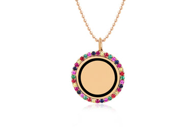 Rainbow & Black Enamel Disc Necklace