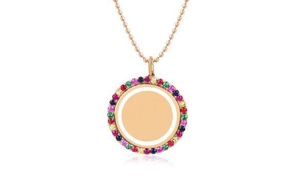 Rainbow & White Enamel Disc Necklace