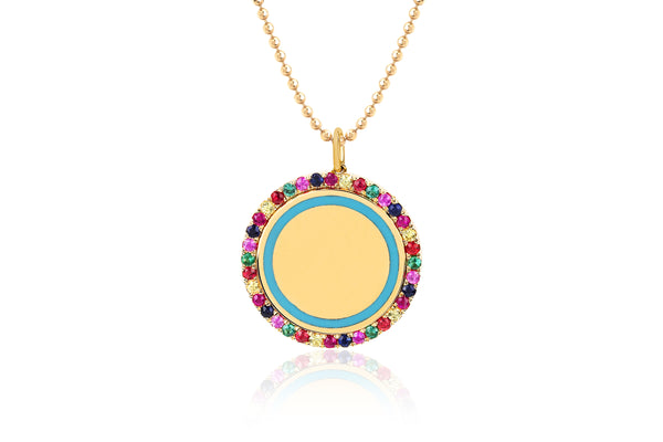 Rainbow & Turquoise Enamel Disc Necklace