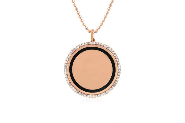 Diamond & Black Enamel Disc Necklace