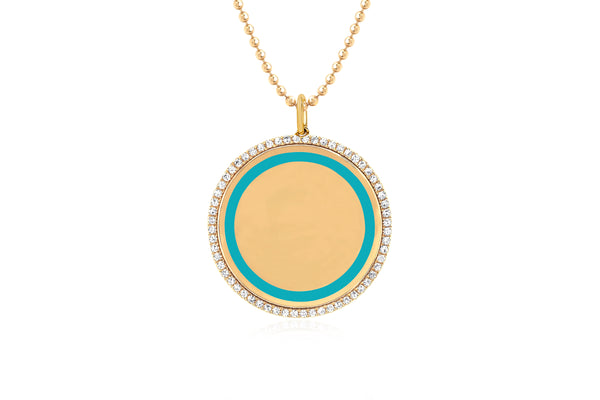 Diamond & Turquoise Enamel Disc Necklace