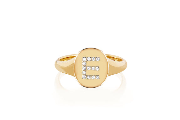 Gold Oval Signet With Diamond Initial Ring