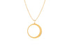 Diamond & White Enamel Crescent Moon Necklace