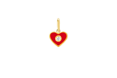Diamond & Red Enamel Heart Necklace Charm