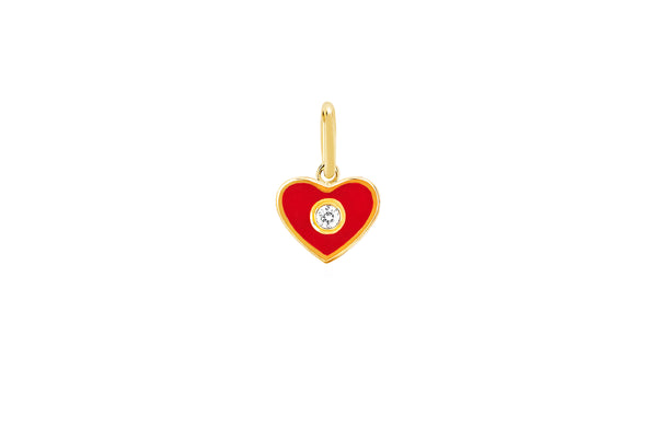 Diamond & Red Enamel Heart Charm