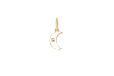 Diamond & White Enamel Moon Necklace Charm