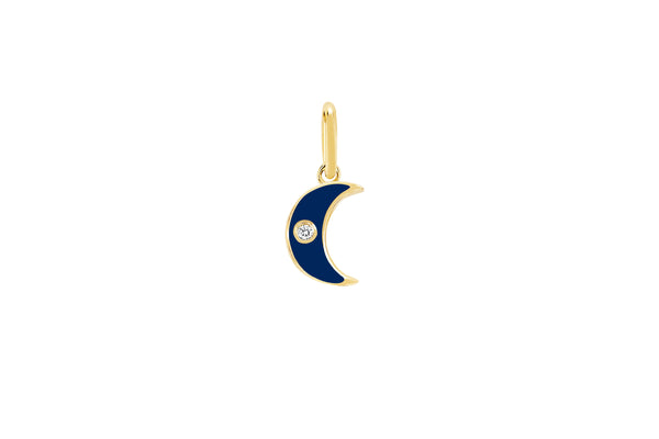 Diamond & Navy Enamel Moon Charm