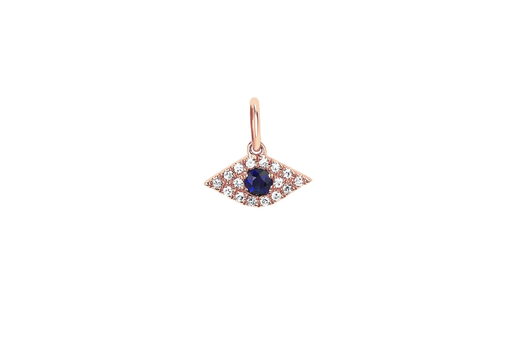 Diamond Evil Eye With Blue Sapphire Necklace Charm