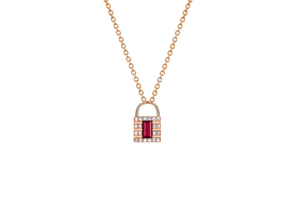 Mini Diamond & Ruby Lock Necklace