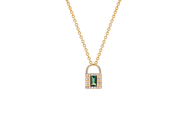 Mini Diamond & Emerald Lock Necklace