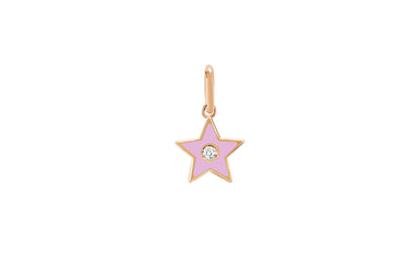 Diamond & Light Pink Enamel Star Necklace Charm