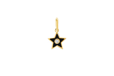 Diamond & Black Enamel Star Necklace Charm