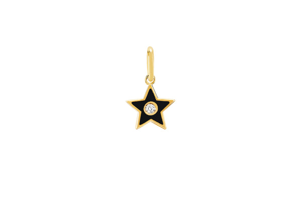 Diamond & Black Enamel Star Charm