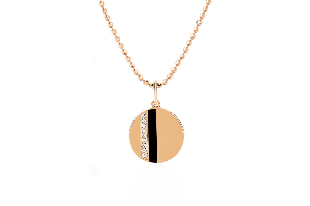 Mini Disc Necklace With Diamond And Black Enamel Stripe