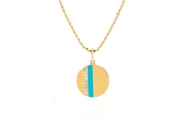 Mini Diamond Disc & Turquoise Enamel Stripe Necklace