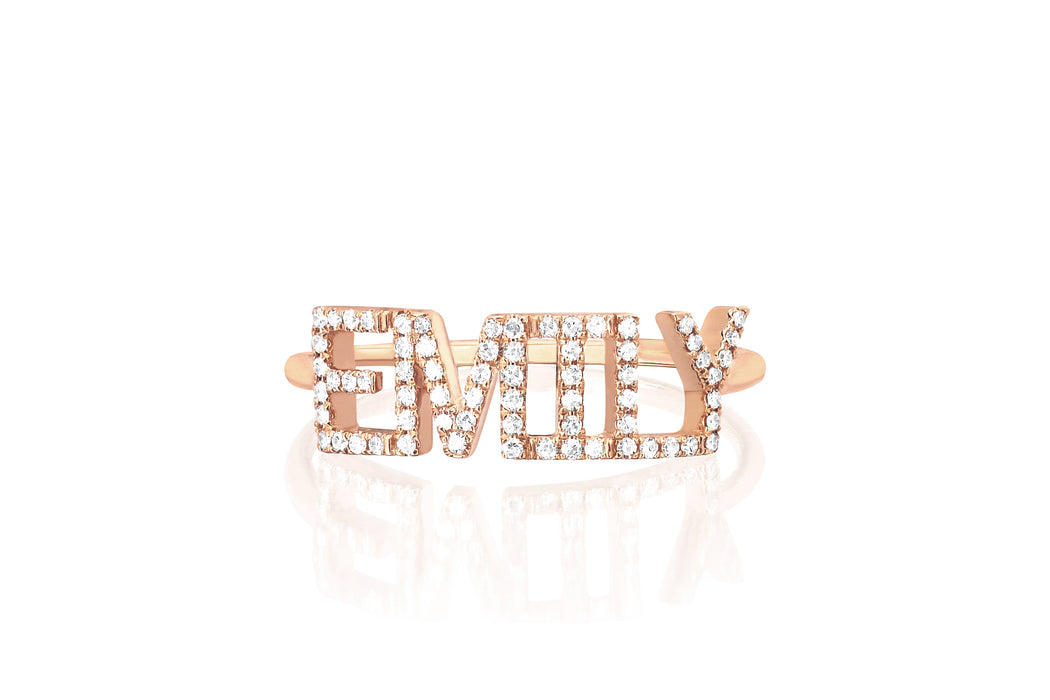 Diamond Custom Name Ring