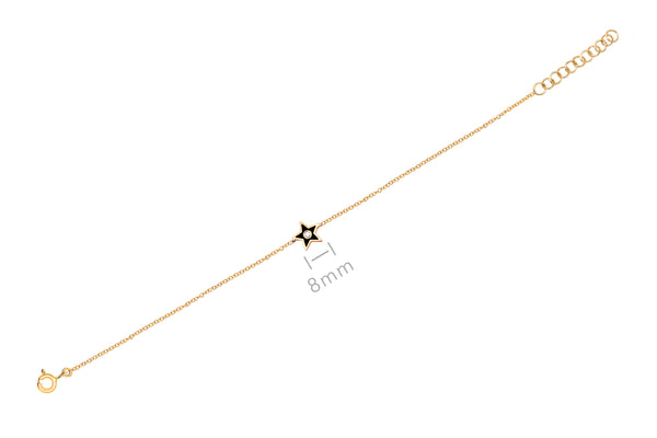 Diamond & Black Enamel Star Chain Bracelet