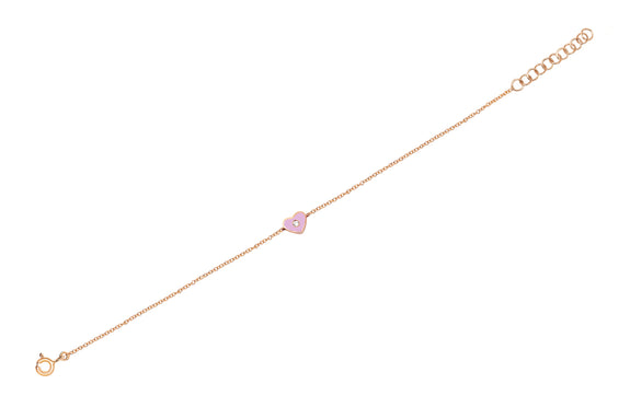 Diamond & Light Pink Enamel Heart Chain Bracelet