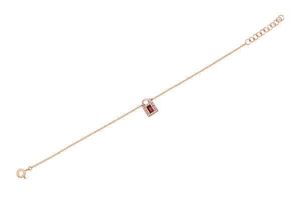 Mini Diamond & Ruby Lock Chain Bracelet
