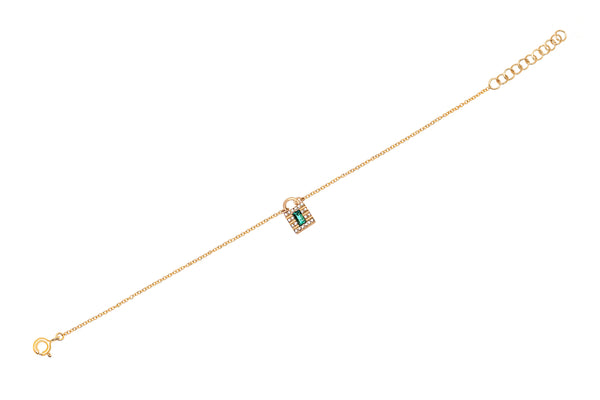 Mini Diamond & Emerald Lock Chain Bracelet
