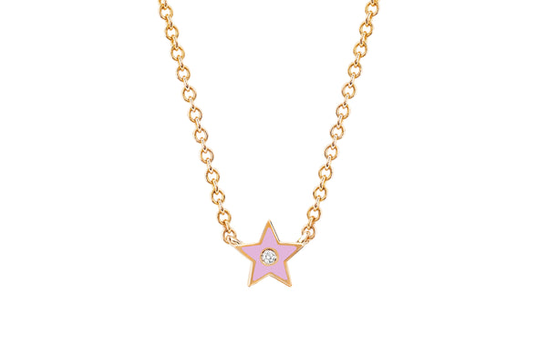 Diamond & Light Pink Enamel Star Necklace