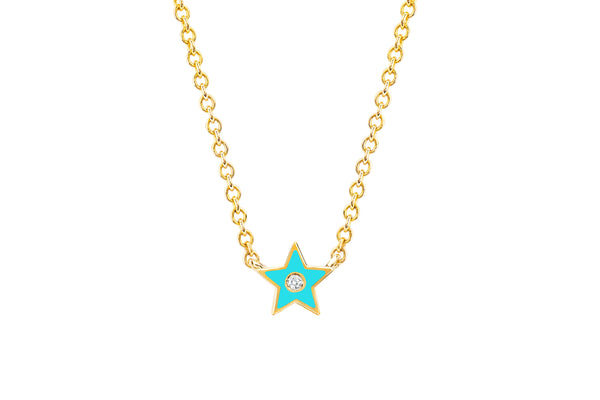 Diamond & Turquoise Enamel Star Necklace