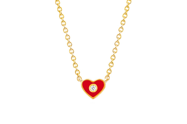 Diamond & Red Enamel Mini Heart Necklace